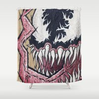 venom Shower Curtains featuring Venom by chris panila