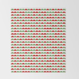 Half moon christmas minimal pattern red and green holiday festive pattern gifts Throw Blanket