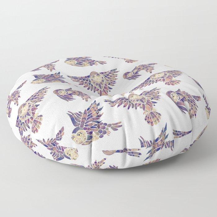 Owls in Flight – Mauve Palette Floor Pillow