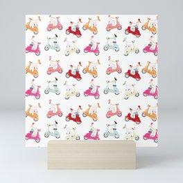 Girls on Scooter Pattern Mini Art Print