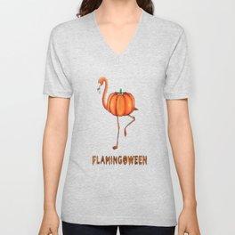 Flamingo funny halloween flamingoween pumkin casual t-shirt Unisex V-Neck