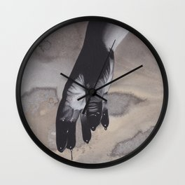 Realism Charcoal Drawing of Bloody Dripping Hands Wall Clock