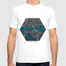 Stockholm city map black colour SMALL Mens Fitted Tee White