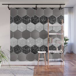 Silver Hexagon Glitter Glam #1 #geometric #decor #art #society6 Wall Mural