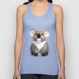 Lovely koala bear sitting and looking up. Unisex Tank Top