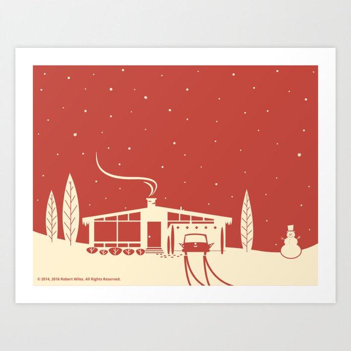 Mid-Century Snowscene in Red Art Print