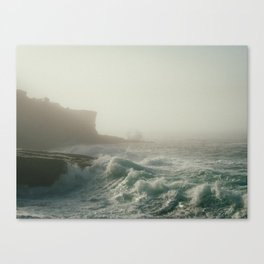 misty ocean waves Canvas Print