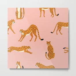 Cheetahs pattern on pink Metal Print