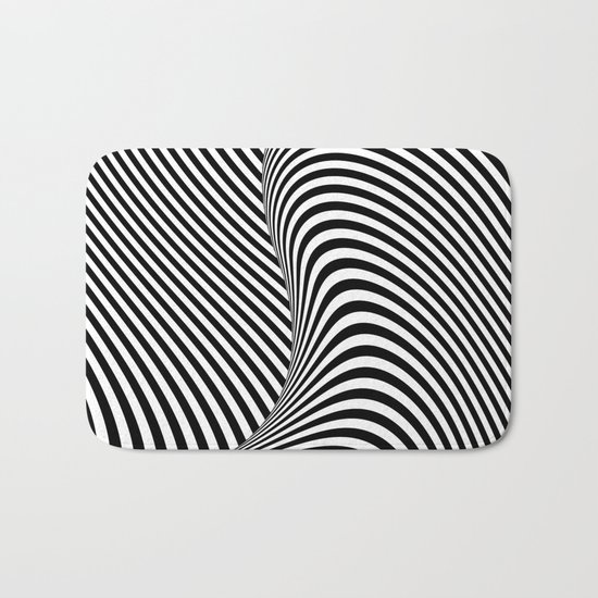 Black and White Pop Art optical illusion lines Bath Mat by