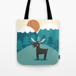 Moose In The Mountains Tote Bag