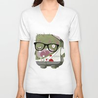 zombie V-neck T-shirts featuring Zombie by Silver Larrosa