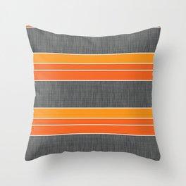 Orange Grey Linen Throw Pillow