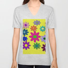 Flower Power, Cute Flowers, Pretty Colorful Flowers Unisex V-Neck