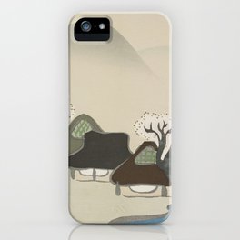 Village with cherry blossoms from Momoyogusa–Flowers of a Hundred Generations (ca. 1909–1910) by Kam iPhone Case
