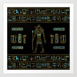 Anubis Egyptian  Gold and blue stained glass Art Print