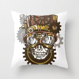 Steampunk dead skulls Throw Pillow