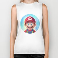 mario kart Biker Tanks featuring Mario Portrait by Laurence Andrew Page Illustrator