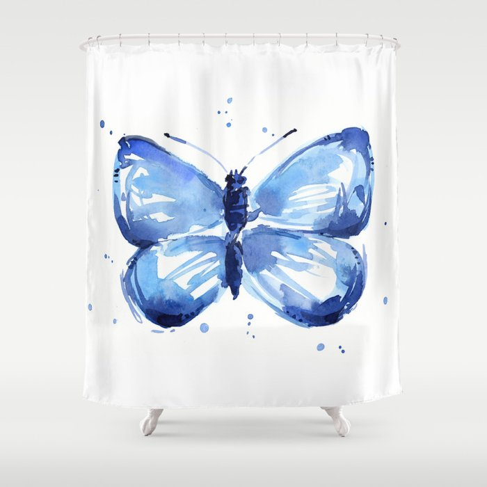 Butterfly Watercolor Blue Butterflies Shower Curtain By Olechka