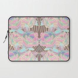 Peonies Pattern with Waves - Pastel Rainbow Laptop Sleeve