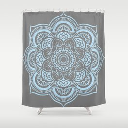 Mandala Flower Gray & Baby Blue Shower Curtain