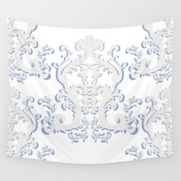 White Blue Floral Bouquet Wall Tapestry