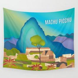 Machu Picchu, Peru - Skyline Illustration by Loose Petals Wall Tapestry
