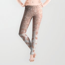 Trendy modern faux rose gold glitter ombre leopard pattern Leggings