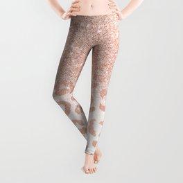 Trendy modern faux rose gold glitter ombre leopard pattern Leggings