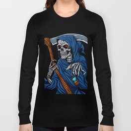 Reaper grim with Hourglass - ghost skull - black and white Long Sleeve T-shirt