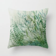 Ferns and Fog Throw Pillow