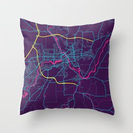Sherbrooke Neon City Map, Sherbrooke Minimalist City Map Art Print Throw Pillow