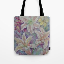White Lilies in the Garden. Purple pastel colors Flowers, Floral  pastel drawing Tote Bag
