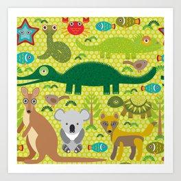 Animals Australia snake, turtle, crocodile, alliagtor, kangaroo, dingo Art Print