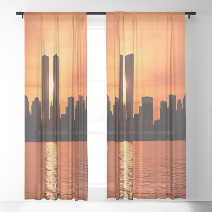 Twin Towers Summer Sky Sheer Curtain