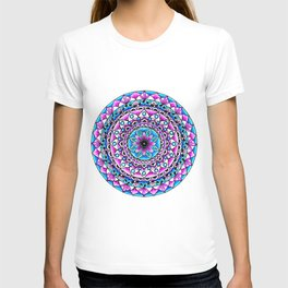 Mandala #2 Wall Tapestry Throw Pillow Duvet Cover Bright Vivid Blue Turquoise Pink Contempora Modern T-shirt