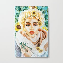 Miss Sunflower Metal Print
