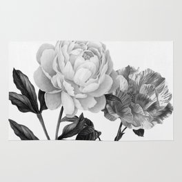 grayscale roses Rug