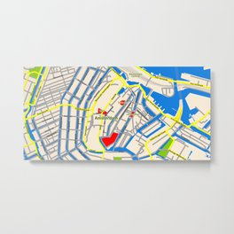 Amsterdam Map design Metal Print