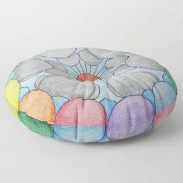 Interplanetary Elephants with Balloons Floor Pillow