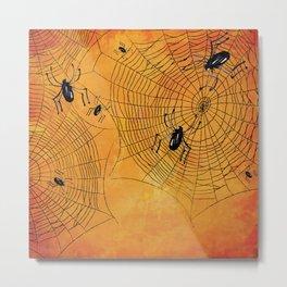Halloween Spiderwebs Watercolor - Kitschy Vintage Spooky All Hallows Eve Metal Print