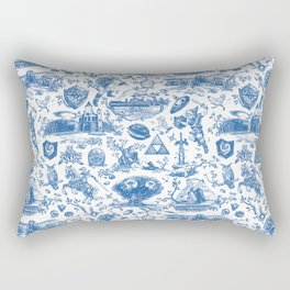 "Zelda ""Hero of Time"" Toile Pattern - Zora's Sapphire Rectangular Pillow"