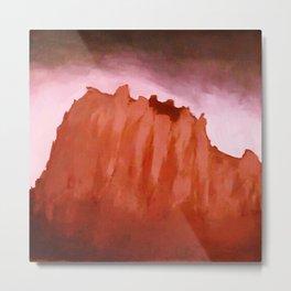 Red ShipRock Mountain Metal Print