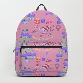 Pastel pink blue green watercolor Christmas typography pattern Backpack