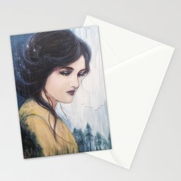 Temperance // Tarot Card Woman Portrait Painting Beauty Goddess Stars Nature Wild Forest Woods Stationery Cards