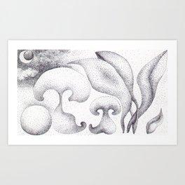 Ink Dots Mushrooms Art Print