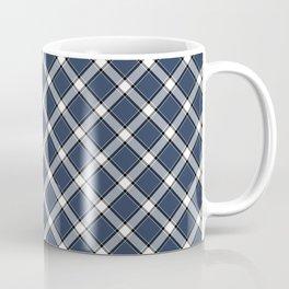Navy Blue, White, and Black Diagonal Plaid Pattern Coffee Mug