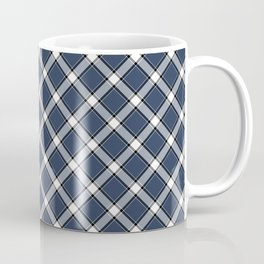Navy Blue, White, and Black Diagonal Plaid Pattern Coffee Mug