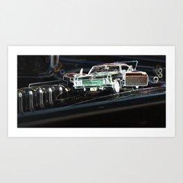 Glowing Classic Car Art Print