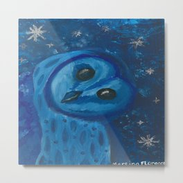 Blue Barn owl Metal Print