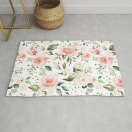 Sunny Floral Pastel Pink Watercolor Flower Pattern Rug